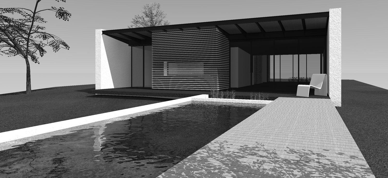 Photographie d'une maison d'architecte avec piscine, vue de l'extérieur